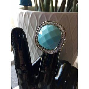 Turquoise & Rhinestone Halo Cocktail Ring